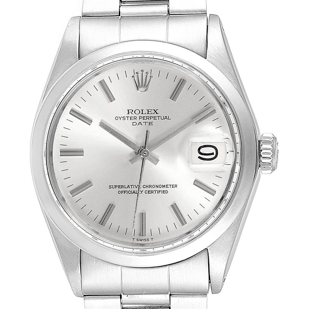 Rolex Date Silver Dial Domed Bezel Vintage Mens Watch 1500 SwissWatchExpo
