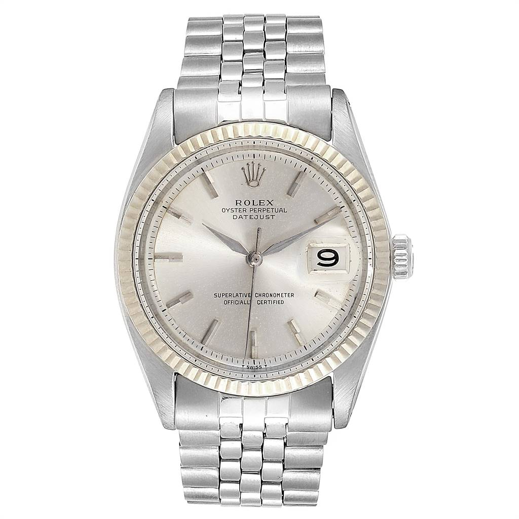 24098 Rolex Datejust Steel White Gold Silver Dial Vintage Mens Watch 1601 SwissWatchExpo