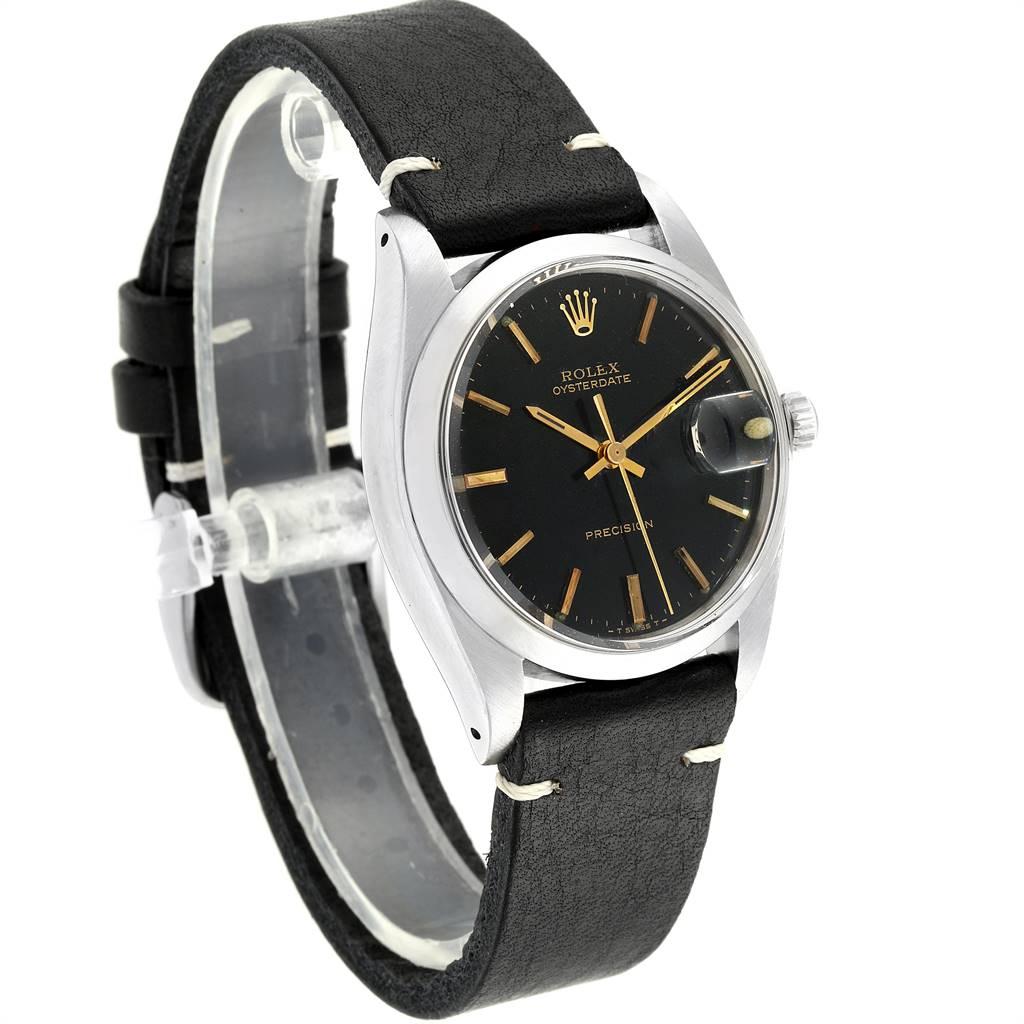 Rolex OysterDate Precision Black Dial Steel Vintage Mens Watch 6694 SwissWatchExpo