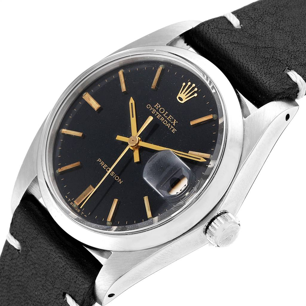 23316 Rolex OysterDate Precision Black Dial Steel Vintage Mens Watch 6694 SwissWatchExpo