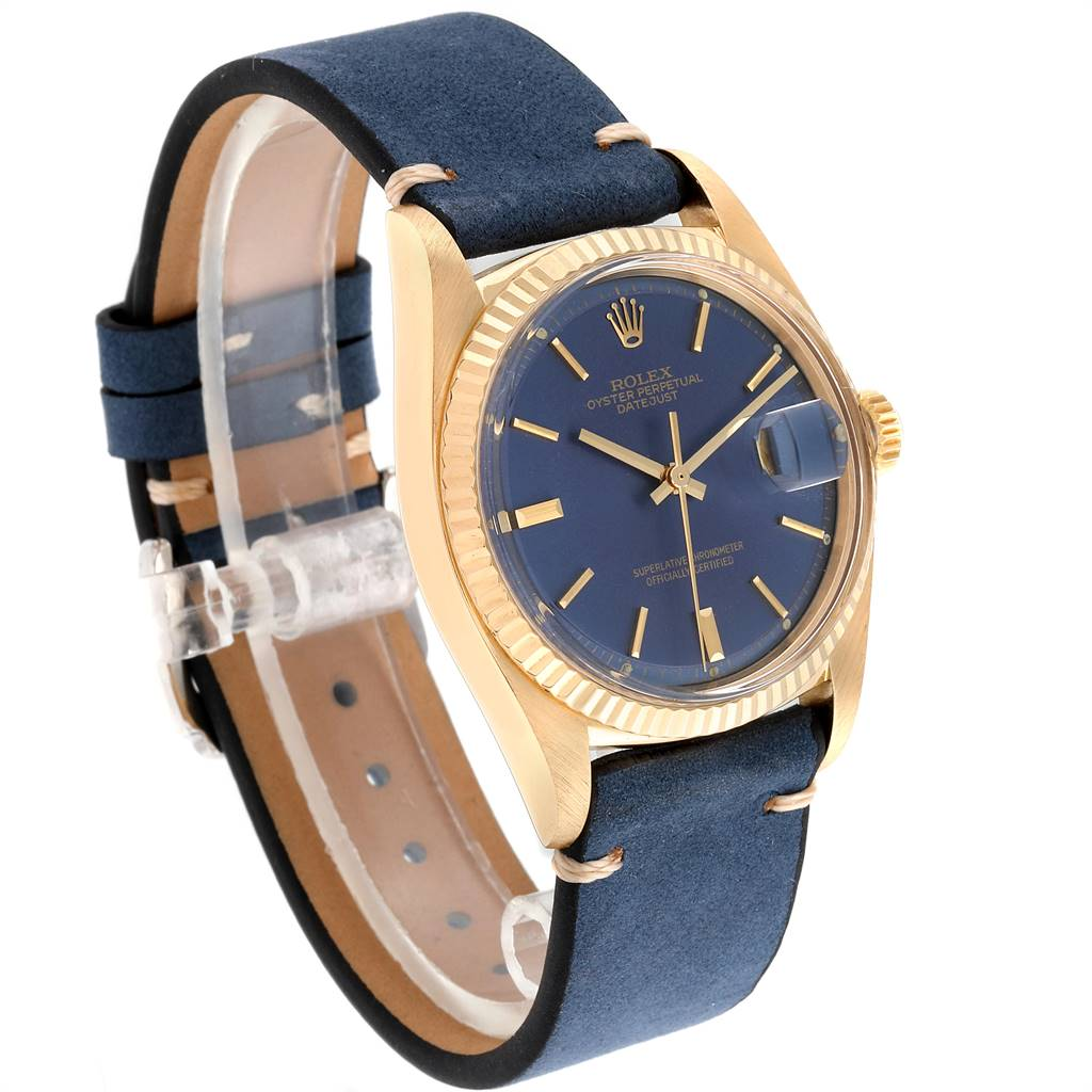 24444 Rolex Datejust Yellow Gold Blue Dial Vintage Mens Watch 16018 SwissWatchExpo