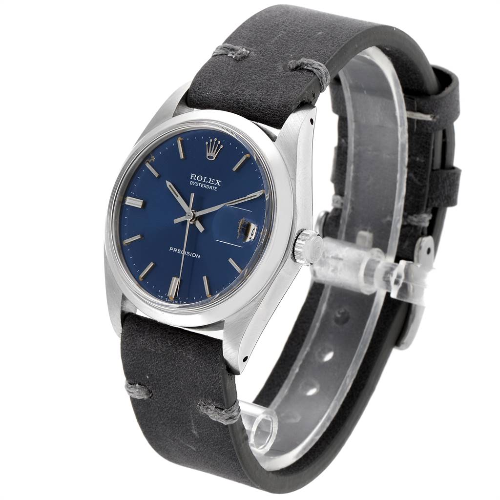 24359 Rolex OysterDate Precision Blue Dial Steel Vintage Mens Watch 6694 SwissWatchExpo