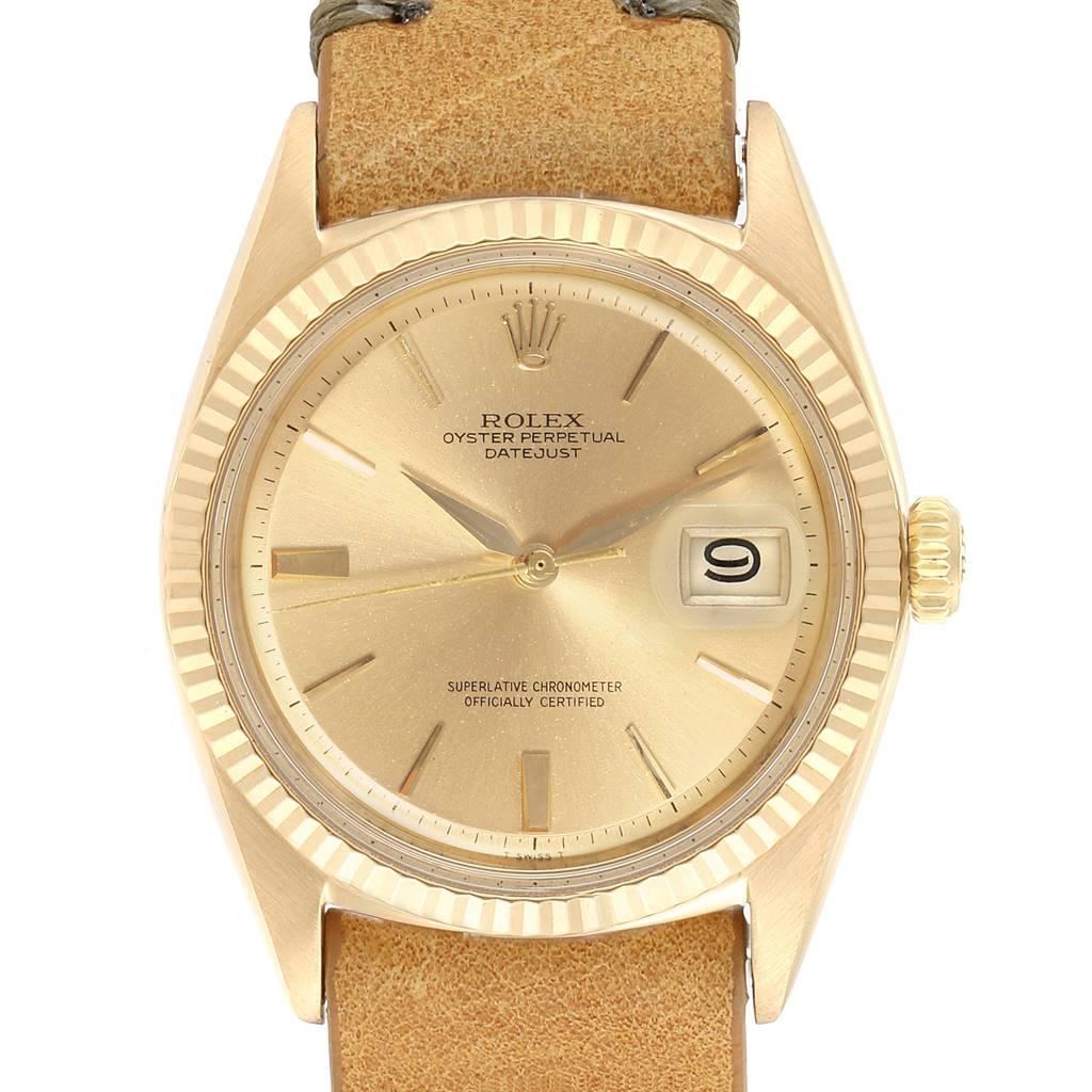 Rolex Datejust Yellow Gold Brown Strap Vintage Mens Watch 1601 SwissWatchExpo