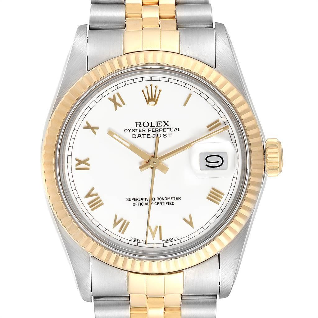 24956 Rolex Datejust Steel Yellow Gold White Dial Vintage Mens Watch 16013 SwissWatchExpo