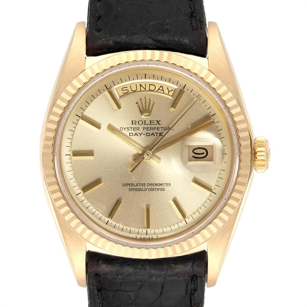 24983 Rolex President Day-Date Vintage Yellow Gold Black Strap Mens Watch 1803 SwissWatchExpo