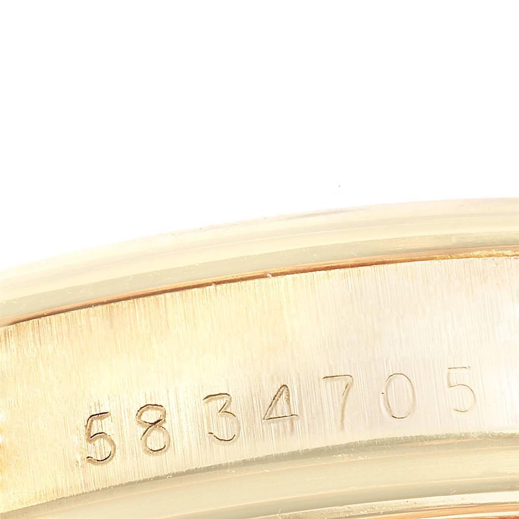 24129 Rolex Date 14K Yellow Gold Brown Strap Vintage Mens Watch 1500 SwissWatchExpo