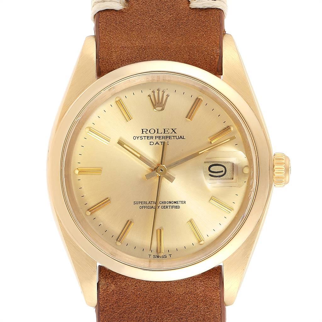 Rolex Date 14K Yellow Gold Brown Strap Vintage Mens Watch 1500 SwissWatchExpo