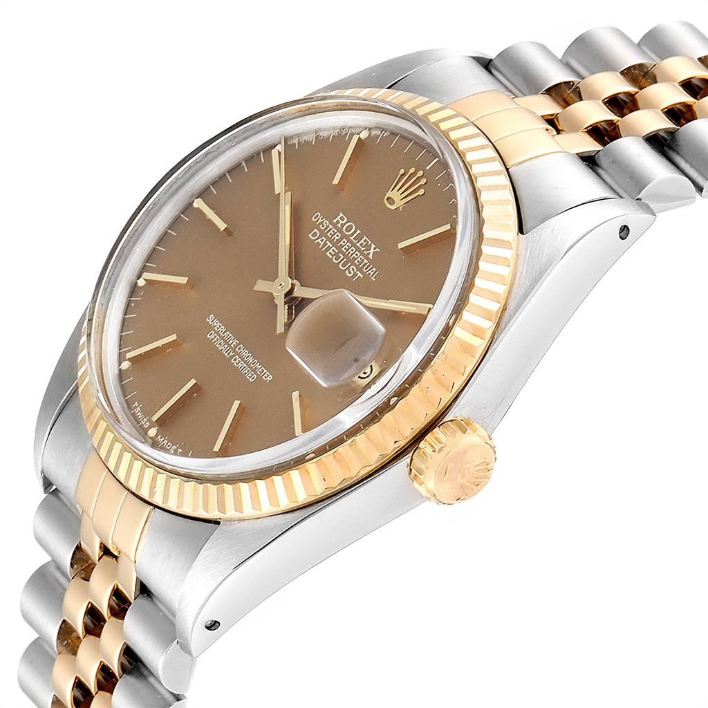 25794 Rolex Datejust Steel Yellow Gold Bronze Dial Vintage Mens Watch 16013 SwissWatchExpo