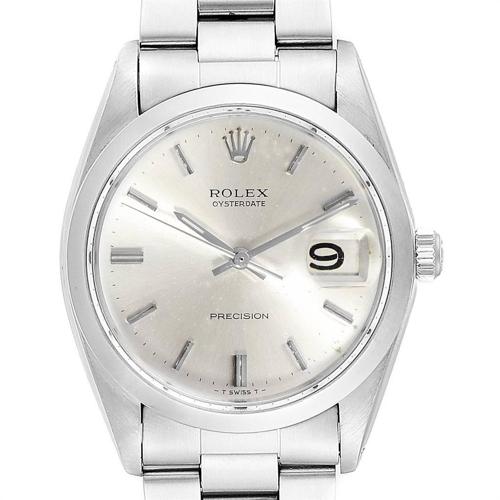 Rolex OysterDate Precision Steel Silver Dial Vintage Mens Watch 6694