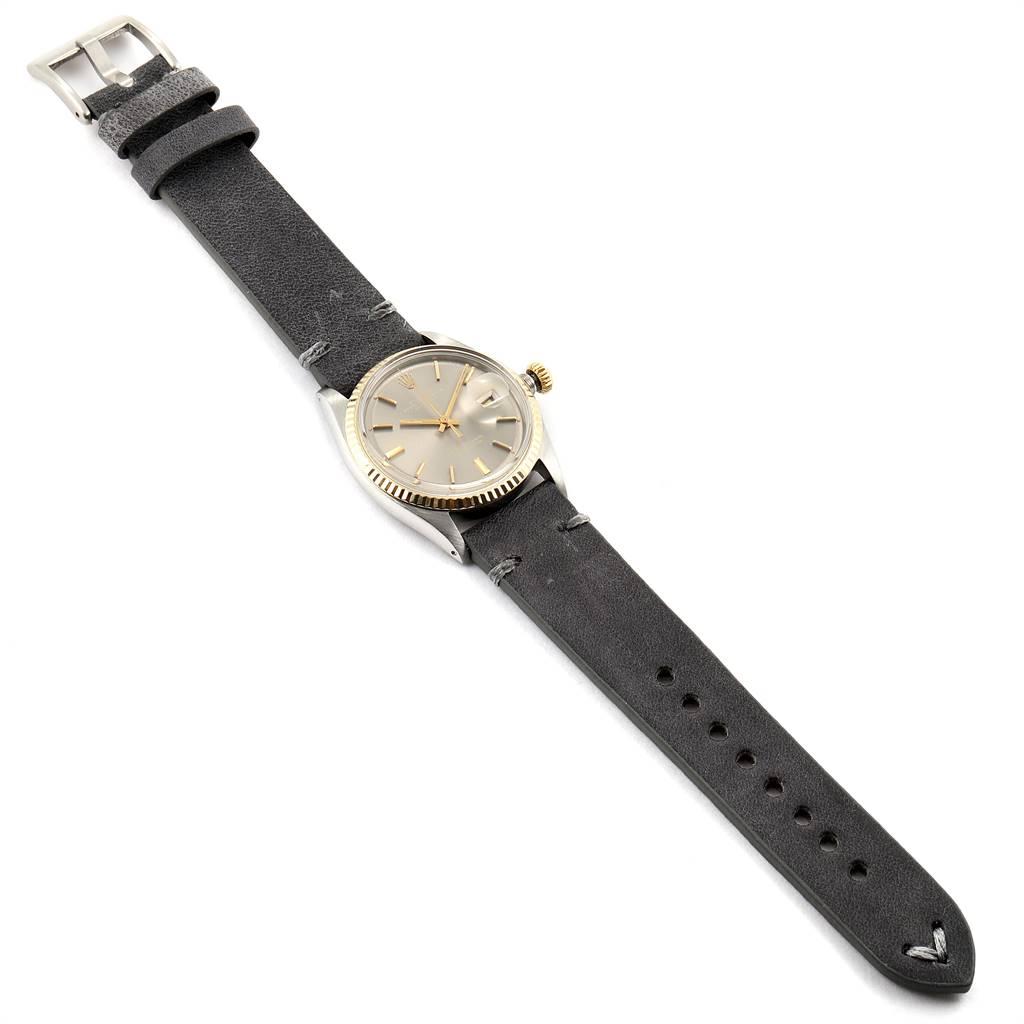 25791 Rolex Datejust Steel Yellow Gold Grey Dial Vintage Mens Watch 1601 SwissWatchExpo