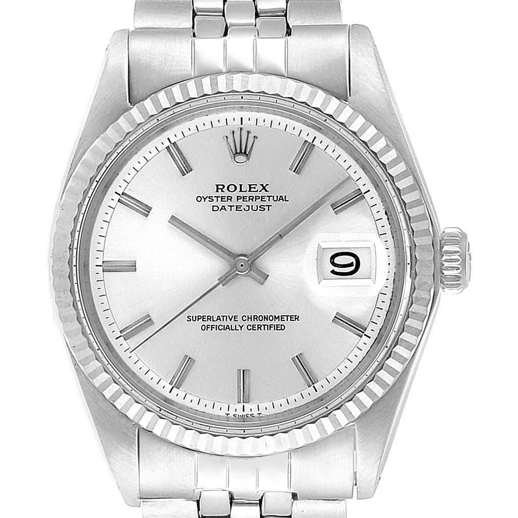 Rolex Datejust Steel White Gold Silver Dial Vintage Mens Watch 1601