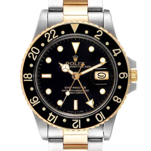 Photo of Rolex GMT Master Steel Yellow Gold Black Dial Vintage Mens Watch 16753
