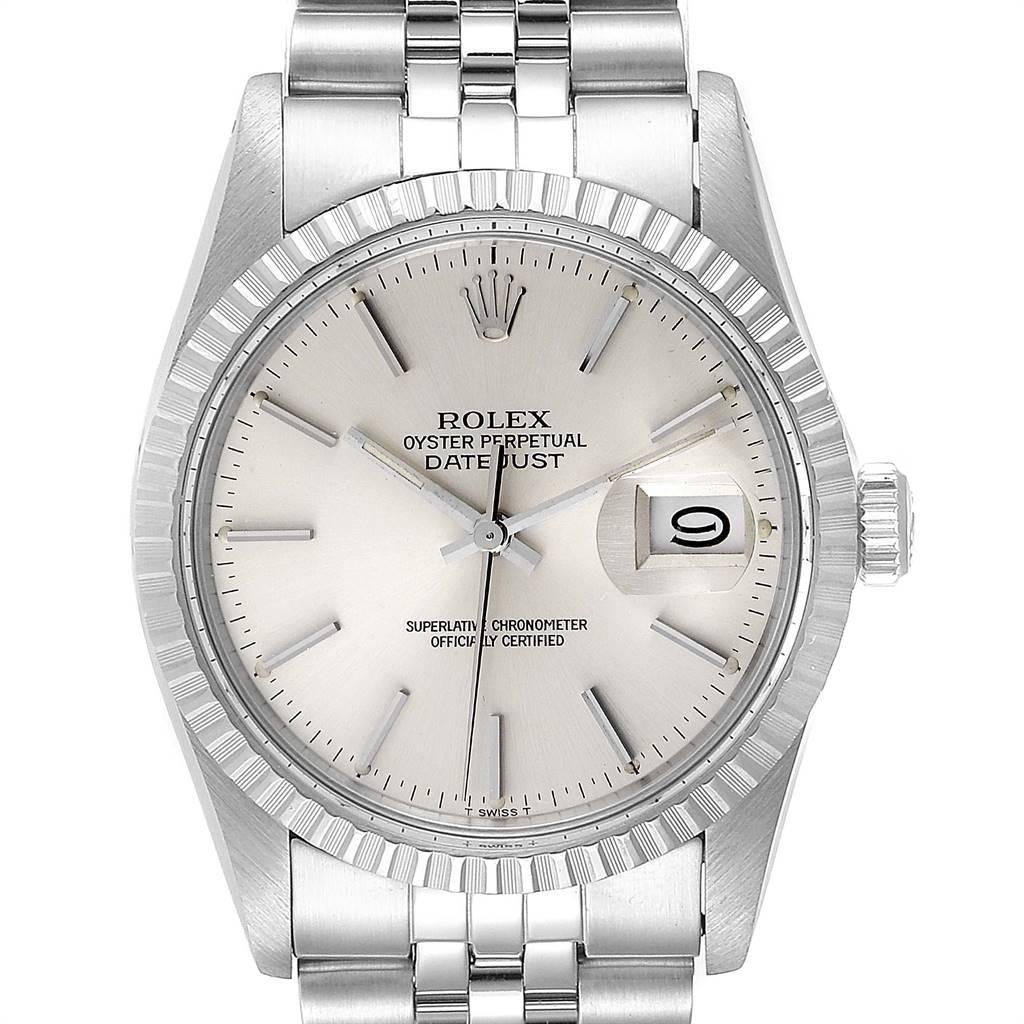 Rolex Datejust 36mm Silver Dial Steel Vintage Mens Watch 16030