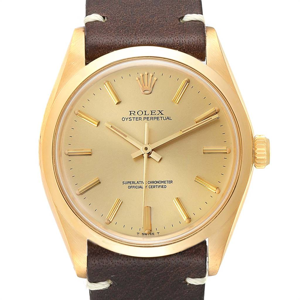 Rolex Oyster Perpetual Vintage Mens 18K Yellow Gold Watch 1002