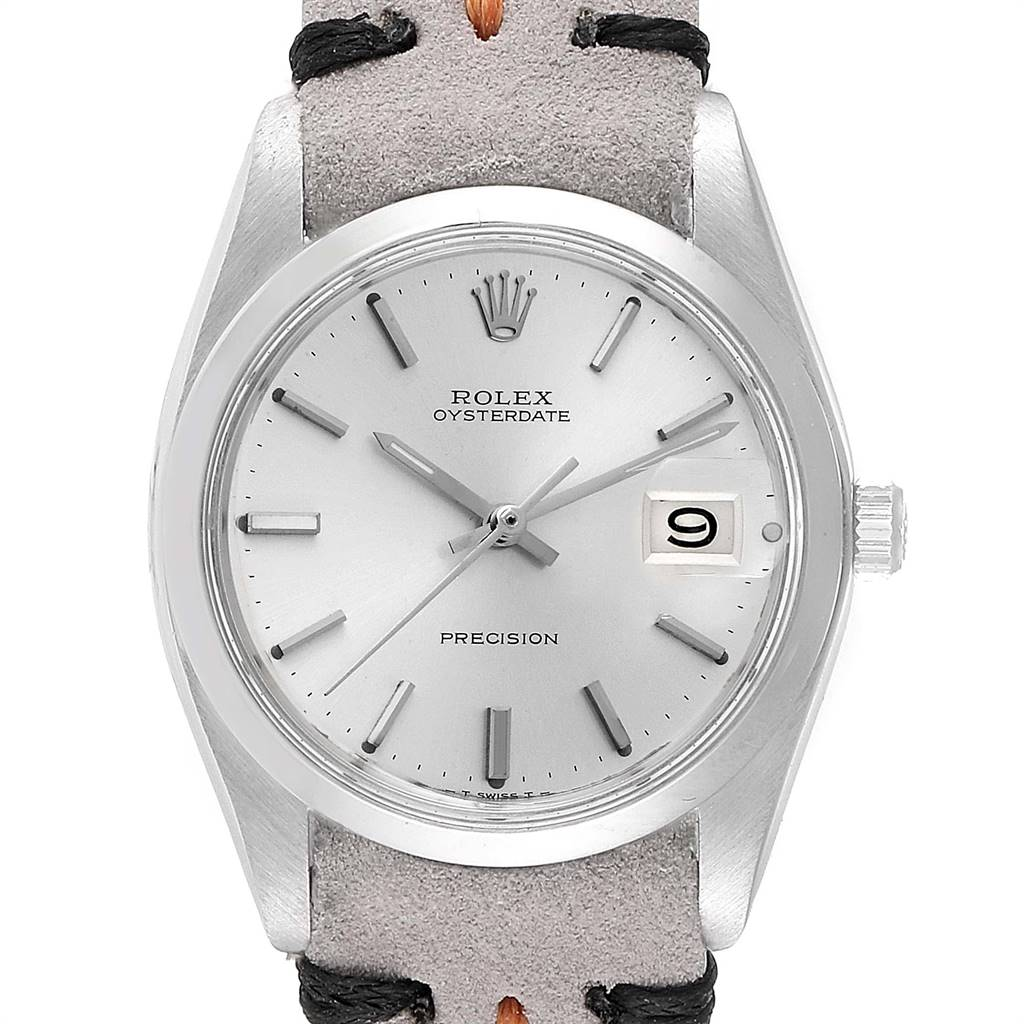 Rolex OysterDate Precision Domed Bezel Steel Vintage Mens Watch 6694