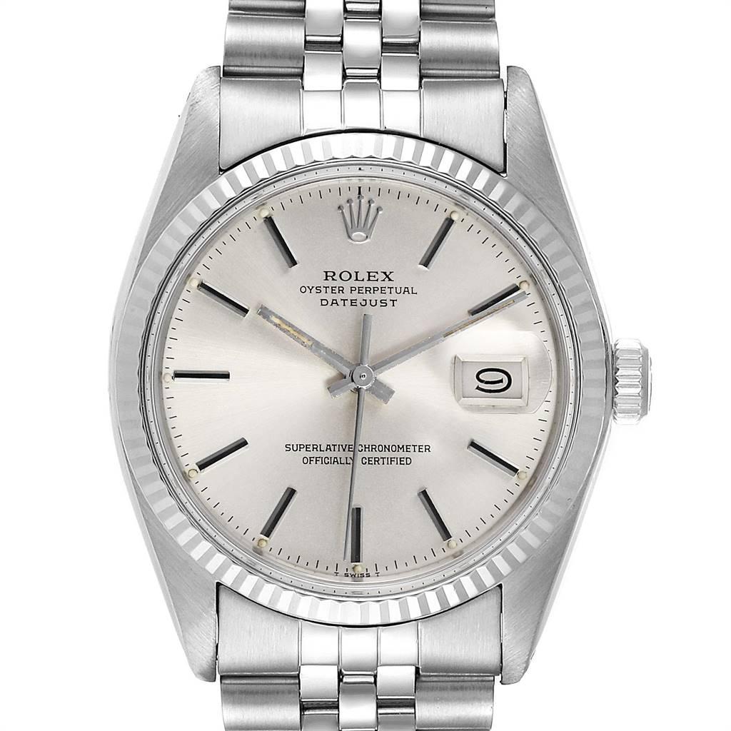 Rolex Datejust Steel White Gold Fluted Bezel Vintage Steel Watch 16014