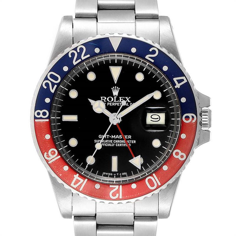 Rolex GMT Master Pepsi Bezel Vintage Steel Mens Watch 16750 SwissWatchExpo