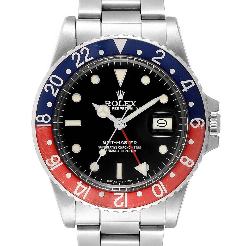 Rolex GMT Master Pepsi Bezel Vintage Steel Mens Watch 16750