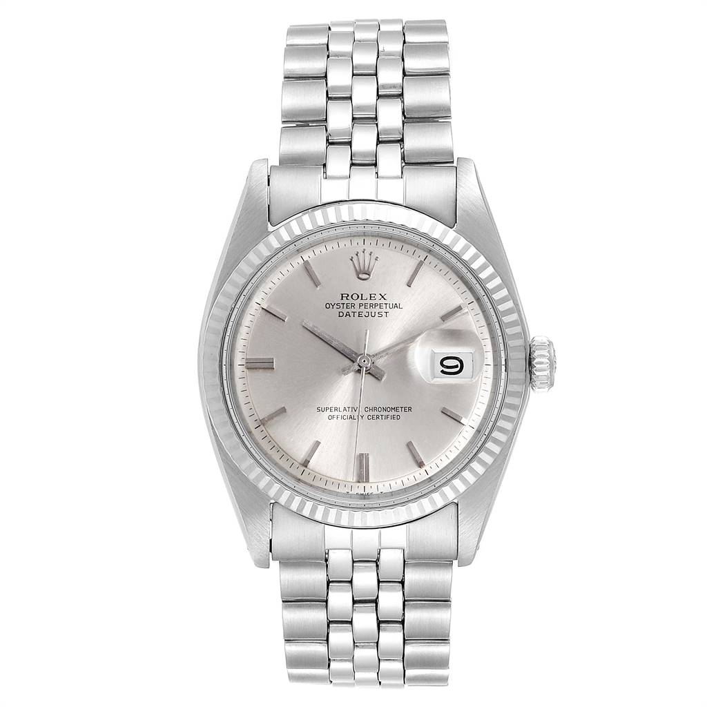 Rolex Datejust Steel White Gold Fluted Bezel Vintage Steel Watch 1601 SwissWatchExpo