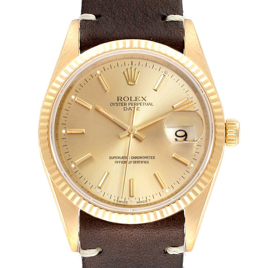Rolex Date Yellow Gold Brown Strap Mens Watch 15238