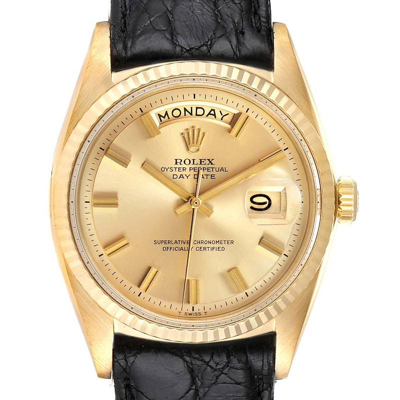 Rolex President Day-Date Wide Boy Pie Pan Vintage Yellow Gold Watch 1803 SwissWatchExpo