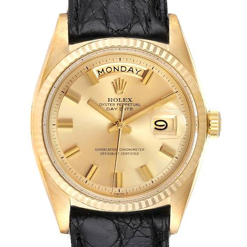 Photo of Rolex President Day-Date Wide Boy Pie Pan Vintage Yellow Gold Watch 1803