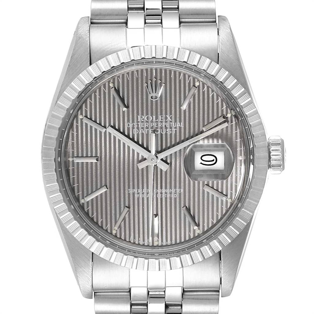 Rolex Datejust Vintage Grey Tapestry Dial Mens Watch 16030 Box Papers