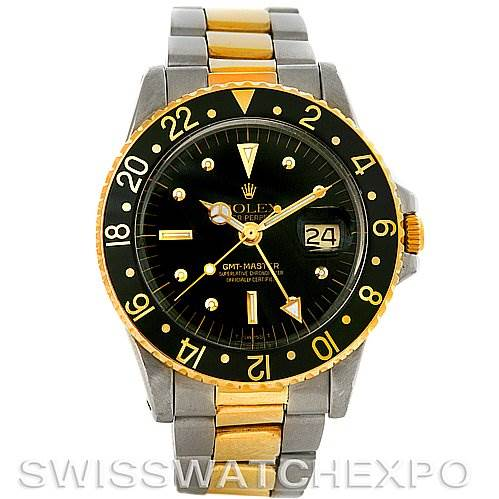 Rolex GMT Master Vintage Nipple Dial Steel Gold 1675 SwissWatchExpo