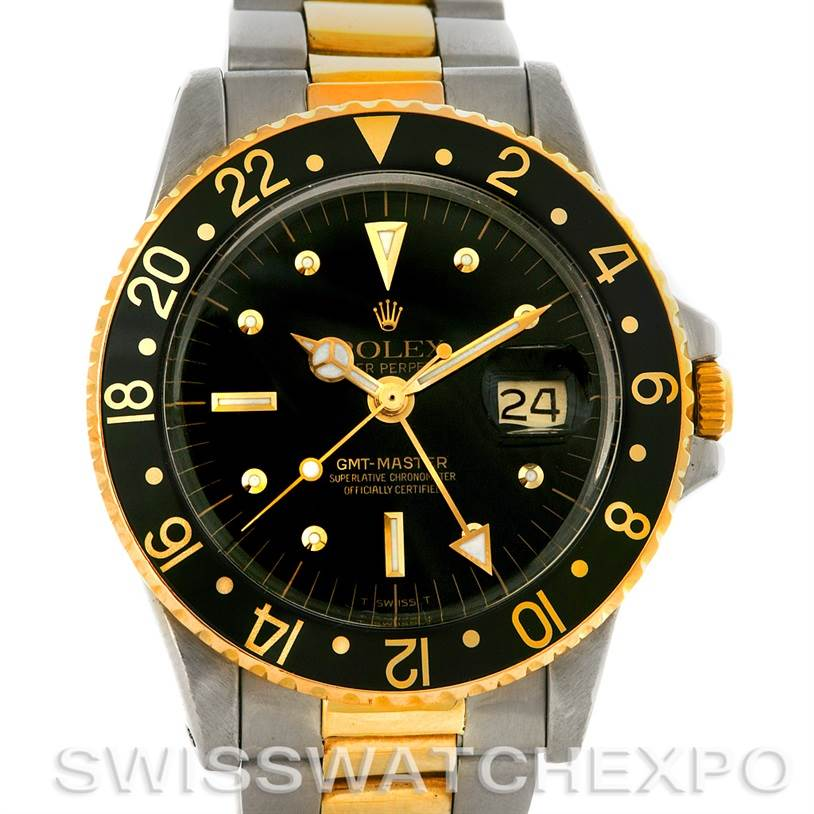 2984 Rolex GMT Master Vintage Nipple Dial Steel Gold 1675 SwissWatchExpo