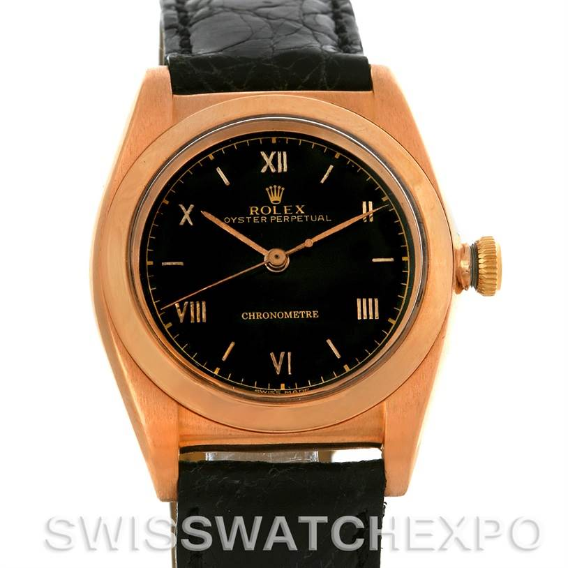 Rolex Vintage Bubbleback 18K Rose Gold Watch 3131 SwissWatchExpo
