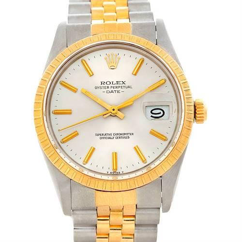 Photo of Rolex Date Mens Steel 18k Gold Watch 15053