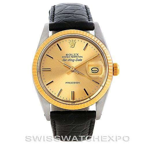 Rolex Air King Date Vintage Mens Steel and Gold Watch 5701
