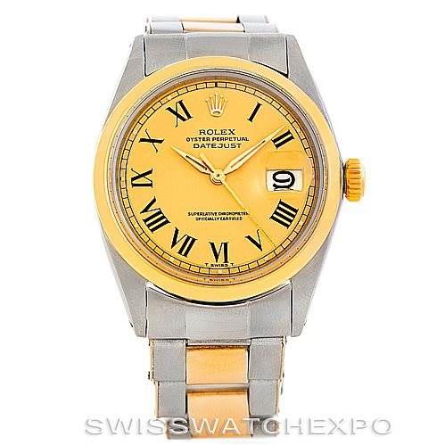 5943 Rolex Datejust Vintage Mens Steel 18K Gold Watch 1600 SwissWatchExpo