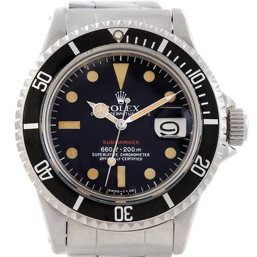 Photo of Rolex Red Submariner Vintage Stainless Steel Mens Watch 1680