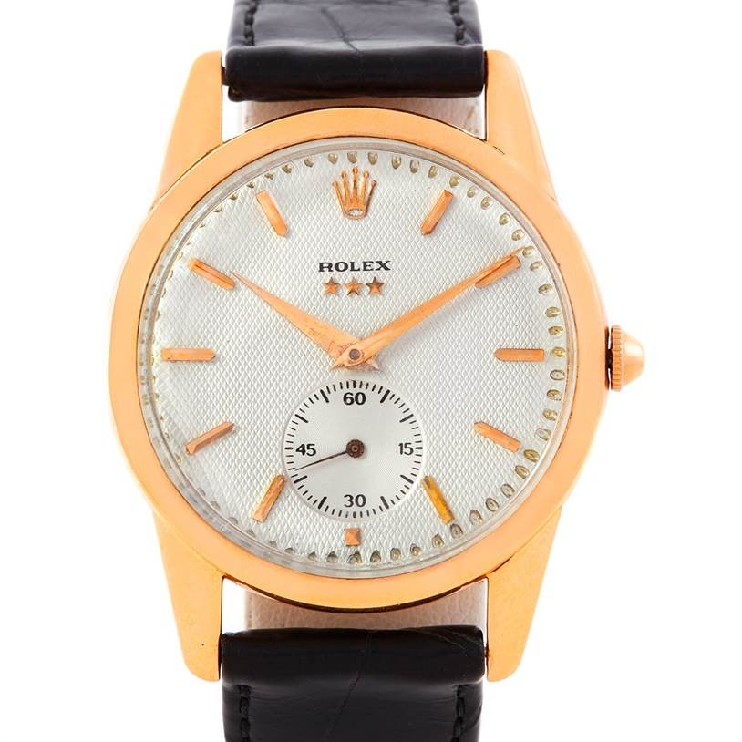 6565 Rolex 18K Rose Gold Vintage Watch 8405 SwissWatchExpo