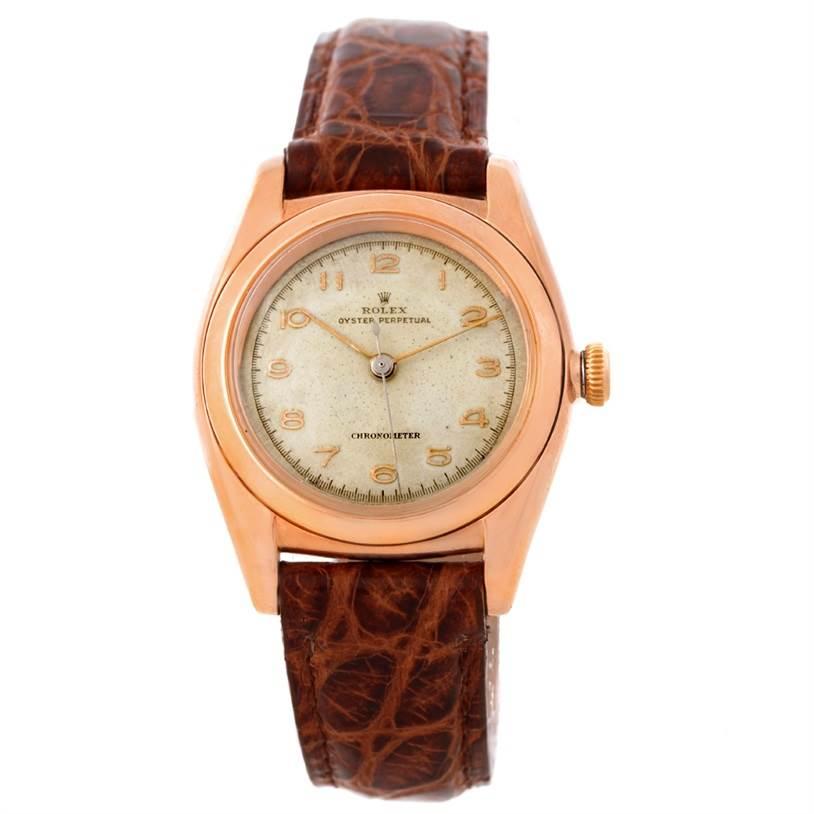 Rolex Bubbleback 14K Rose Gold Vintage Watch 3131