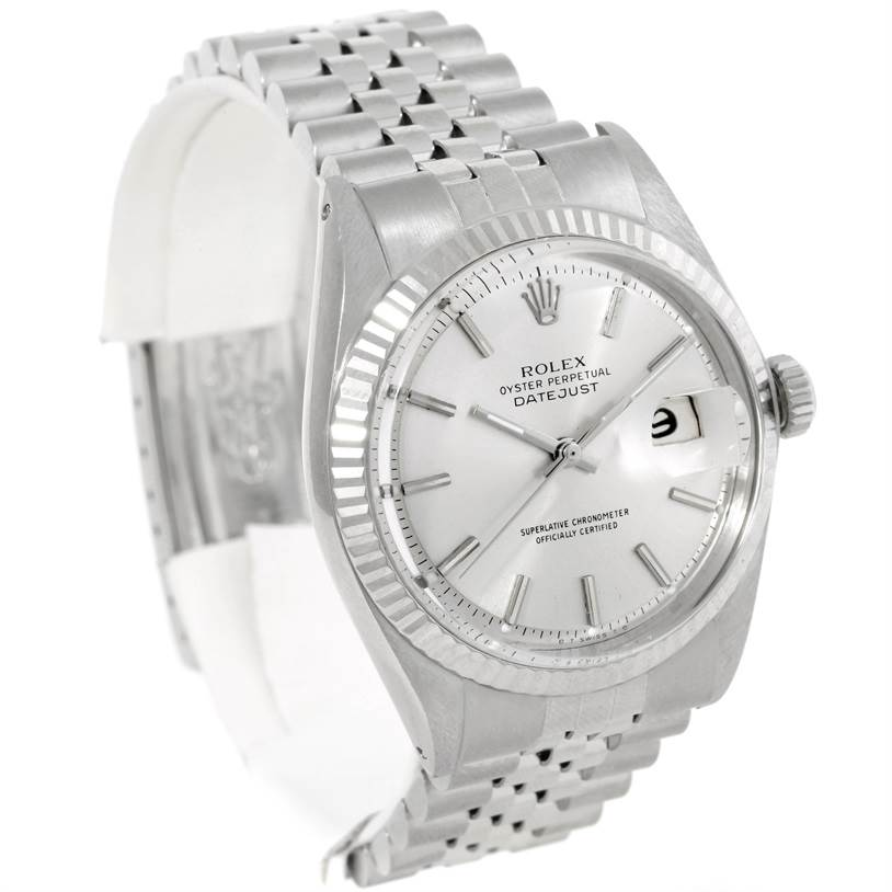 9163 Rolex Datejust Steel 18K White Gold Vintage Mens Watch 1601 SwissWatchExpo