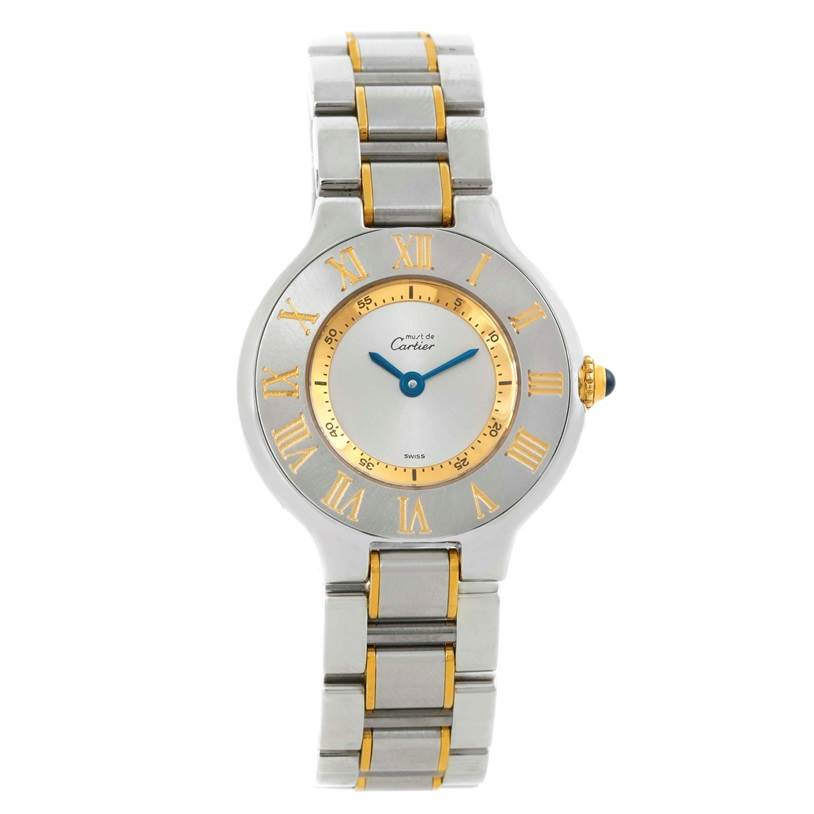 9822 Cartier Must 21 Stainless Steel Yellow Gold Ladies Watch W10073R6 SwissWatchExpo