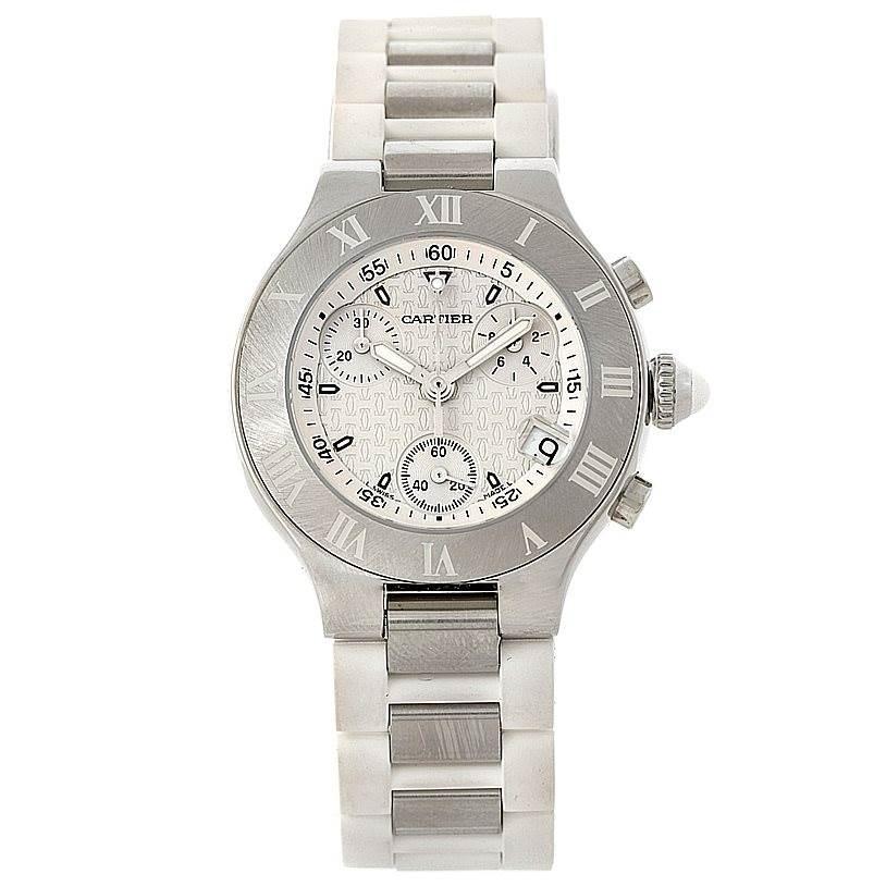 8276 Cartier Must 21 Chronoscaph Ladies Watch W10197U2 Unworn SwissWatchExpo