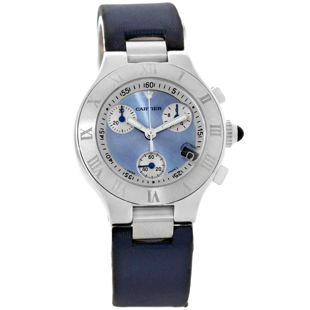 7978 Cartier Must 21 Blue Dial Chronoscaph Ladies Watch W1020013 SwissWatchExpo