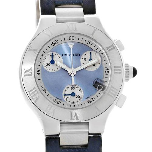 Photo of Cartier Must 21 Blue Dial Chronoscaph Ladies Watch W1020013