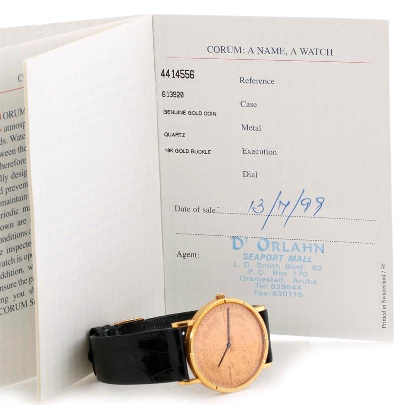 11e64b9bec53f 10444 Corum 20 Dollars Double Eagle Yellow Gold Coin Watch Year 1998  SwissWatchExpo ...