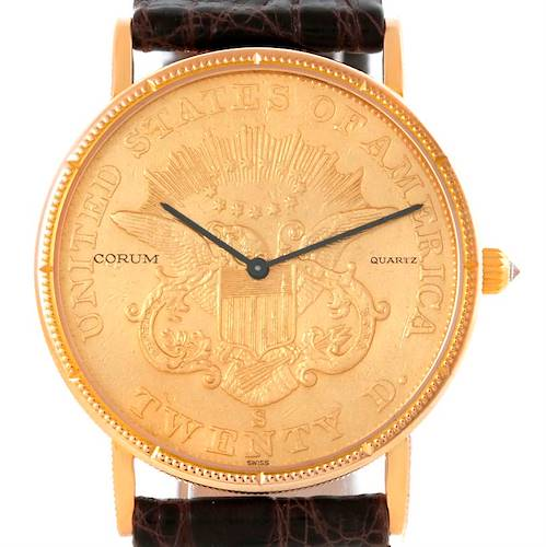 Photo of Corum 20 Dollars Double Eagle Yellow Gold Coin Mens Watch Year 1861