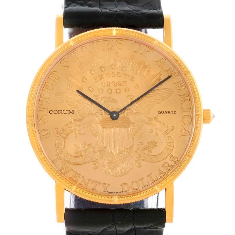 Photo of Corum 20 Dollars Double Eagle Yellow Gold Coin Mens Watch Box Papers