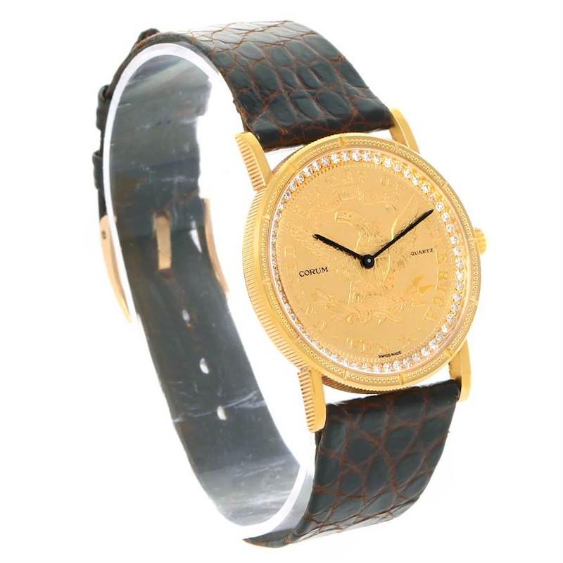 Corum 1893 18K Yellow Gold 10 Coin Diamond Watch SwissWatchExpo
