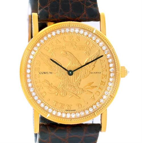 Photo of Corum 1893 18K Yellow Gold 10 Coin Diamond Watch