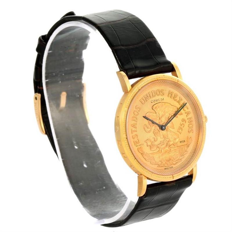 Corum 20 Pesos Year 1959 18K Yellow Gold Coin Black Leather Watch SwissWatchExpo