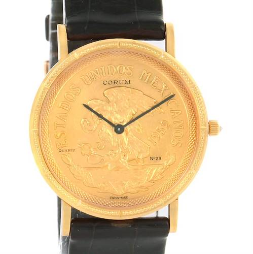 Photo of Corum 20 Pesos Year 1959 18K Yellow Gold Coin Black Leather Watch