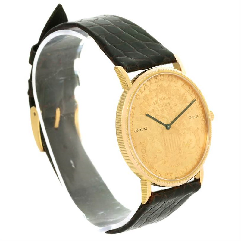 Corum 20 Dollars Double Eagle Yellow Gold Coin Black Strap Watch SwissWatchExpo