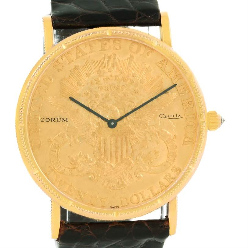Photo of Corum 20 Dollars Double Eagle Yellow Gold Coin Black Strap Watch